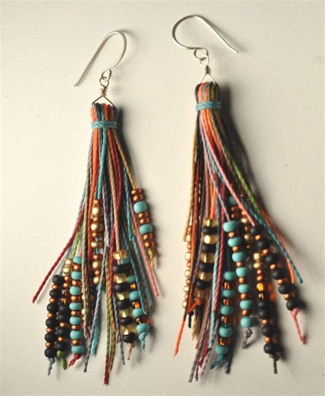 beaded earrings beaded tassel earrings