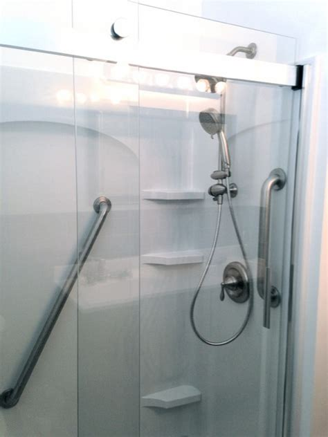Acrylic Grab Bars For Shower acrylic shower surround grab bars and new shower fixtures