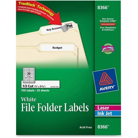 avery templates 8366 avery 8366 permanent asstd laser inkjet filing labels