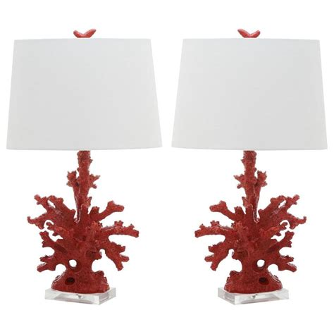 safavieh coral   red branch table lamp set