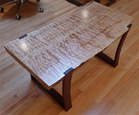 Writing Desk Furniture Live Edge Curly Maple Slab Coffee Table With Curved Ipe