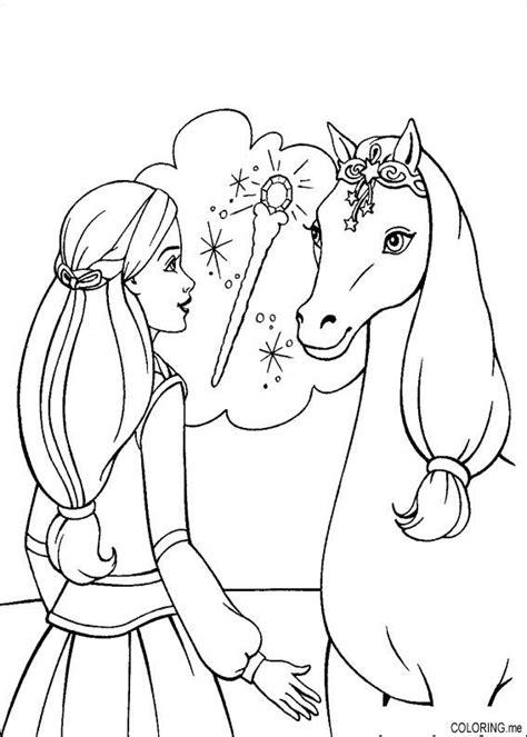 coloring page barbie magic pegasus horse coloringme