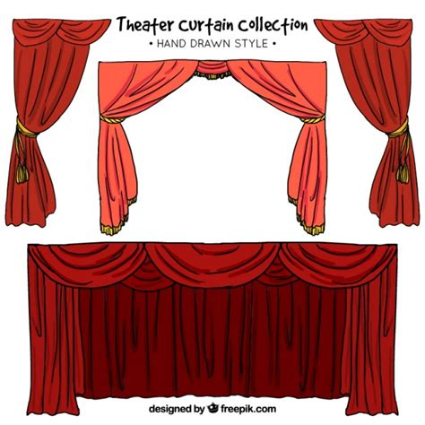 curtains drawn hand drawn set of theater curtains in red tones vector