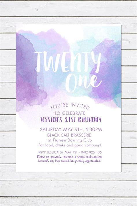 st birthday invitation twenty  watercolour