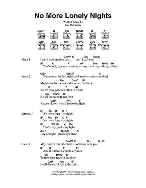 paul mccartney my lyrics no more lonely nights sheet by paul mccartney