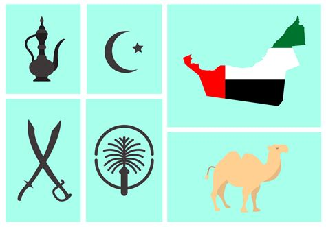 Arabic Flag Set 3in1 vector set of uae symbols free vector stock graphics images