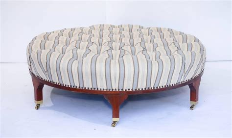 round large ottoman large round tufted ottoman with striped upholstery at 1stdibs