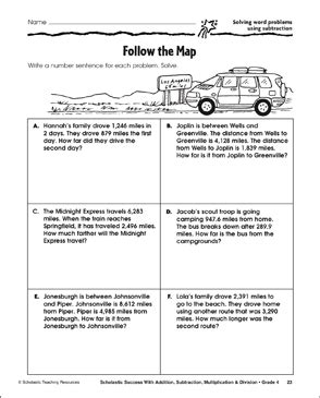 Follow The Map Solving Word Problems Using Subtraction