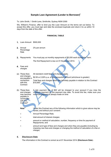 Loan Letter Individual Borrower Loan Agreement Lender To Borrower Sle Lawpath