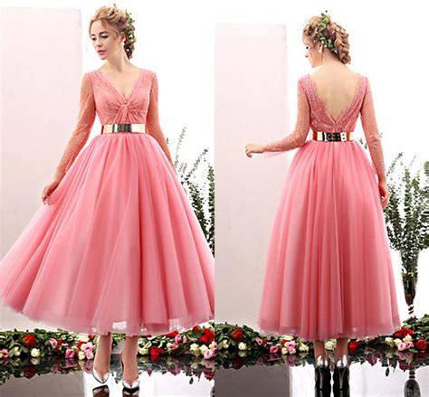 tea length cocktail dresses homecoming pink blue tea length cocktail dress evening wear