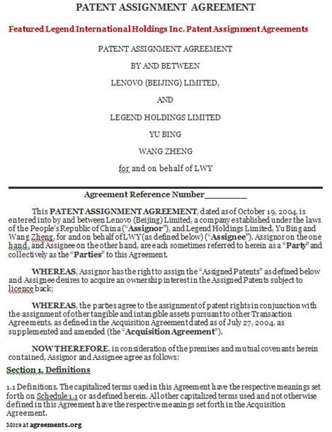 patent assignment agreement template posts armywrite