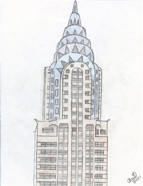 Chrysler Building Drawing by The Chrysler Building By Rainbow Narwal On Deviantart