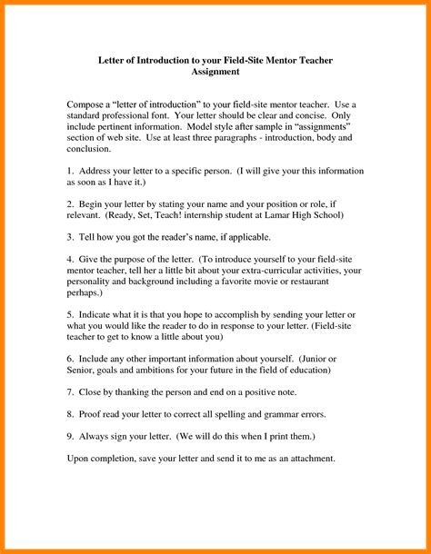Confirmation Mentor Letter student introduction letter to parents best