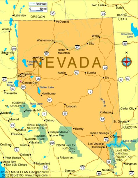 nevada map infoplease