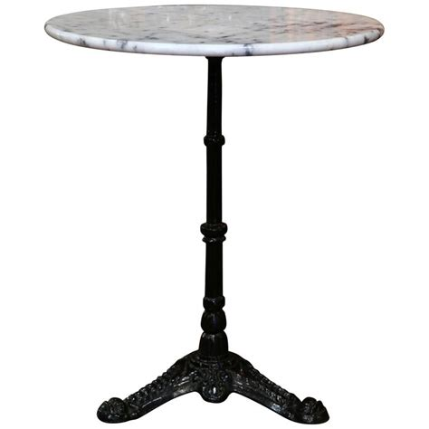 Marble Bistro Table Early 20th Century Iron Pedestal Bistro Table From With Marble Top At 1stdibs
