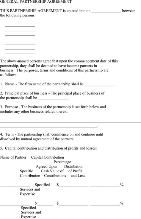 general partnership agreement template template design