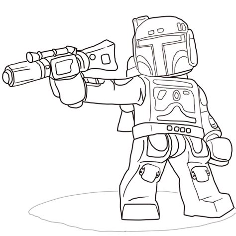 lego star wars boba fett coloring page free printable