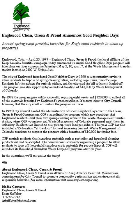 sle cover letter press release