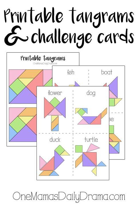 Printable Word Challenge Games | printable tangrams and challenge cards