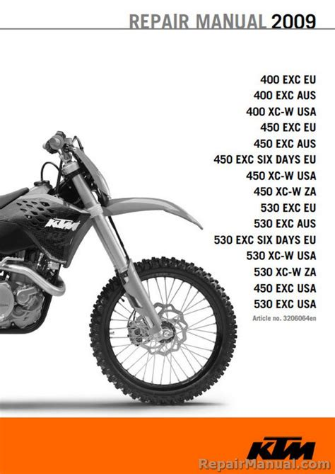 Ktm Manual 2009 Ktm Motorcycle Service Manual 400 450 530 Exc Xc W