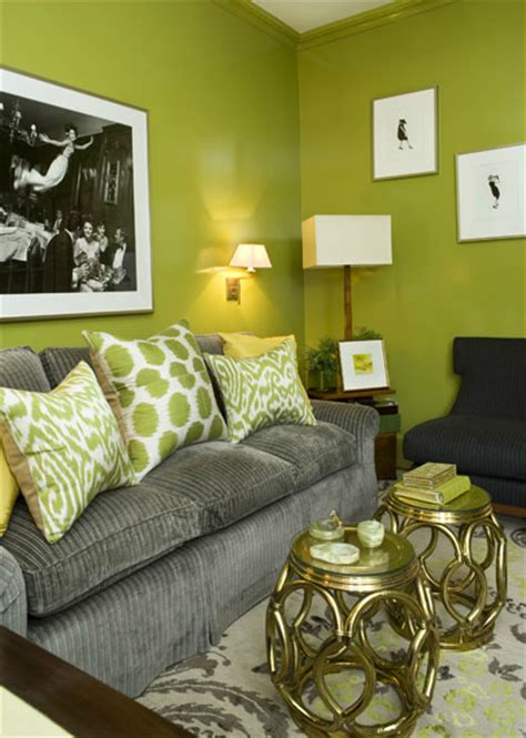 Green And Gray Room | chartreuse silk drapes design ideas