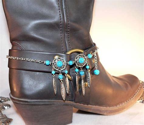 turquoise blue boot bracelet cowboy bling heel spur