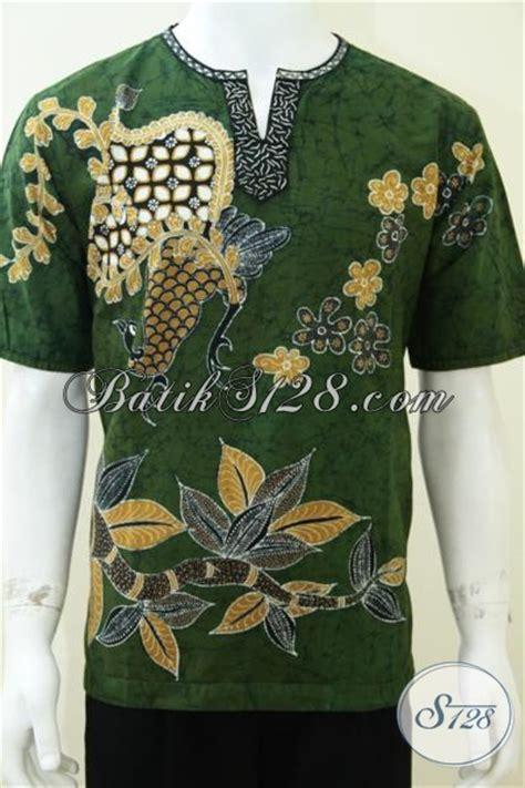 Hem Kerah Koko Batik Katun hem batik koko kerah shanghai warna hijau cocok santri