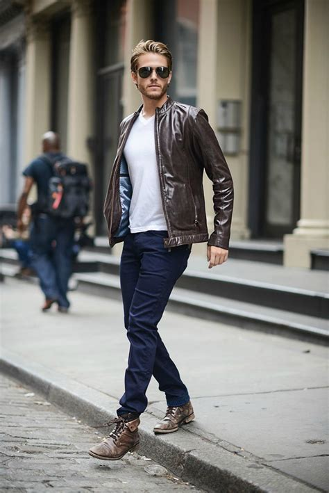 mens brown style boots what to wear with a brown leather jacket the idle