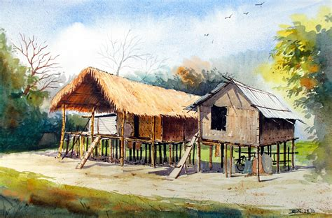 painting of houses buy painting mishing traditional house of assam artwork no