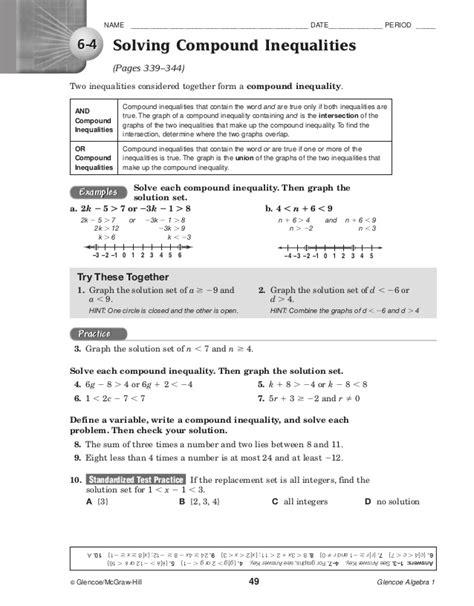 Glencoe Mcgraw Hill Algebra 1 Answers Worksheets by Glencoe Algebra 2 Chapter 6 Test Answer Key Glencoe