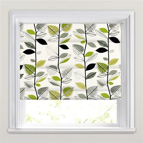 black patterned roman shades funky contemporary leaves pattern roman blinds in green