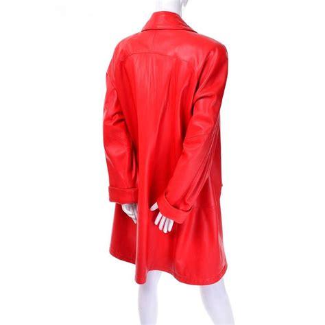red leather swing coat 1980s vakko orange red leather semi swing coat medium