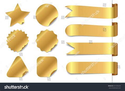 Stiker Riben gold sticker ribbon set stock vector illustration 357204230
