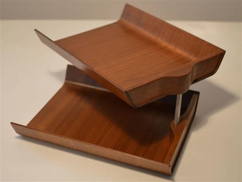 Walnut Plywood Double Pivoting Letter Tray By Florence Novelty Desk Accessories