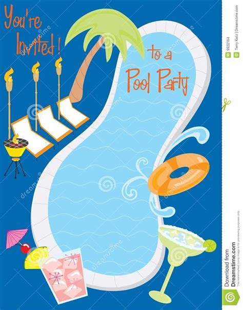 retro pool party invitation stock images image 9922164