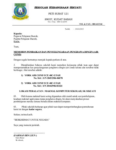 letter mohon penyelengaraan air cond