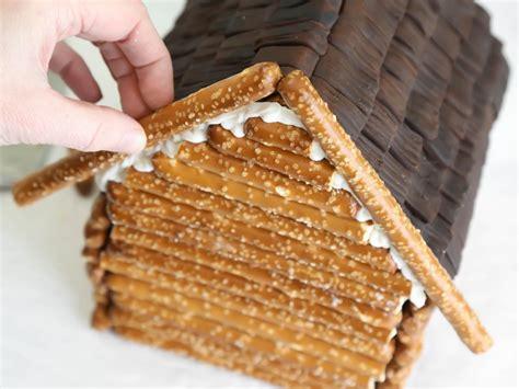 make a log cabin gingerbread house hgtv