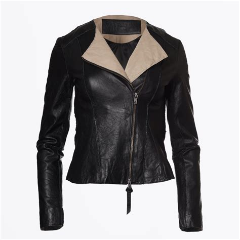 Jaket Towtone Black two tone leather jacket leather jacket save the