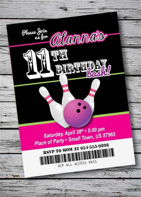 printable bowling tickets bowling birthday party invitation ticket style any age or
