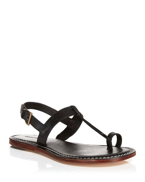t sandals bernardo flat t sandals maverick toe ring in black
