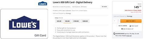 Discount Lowes Gift Cards - 50 lowe s gift cards for 45 at newegg miles to memories