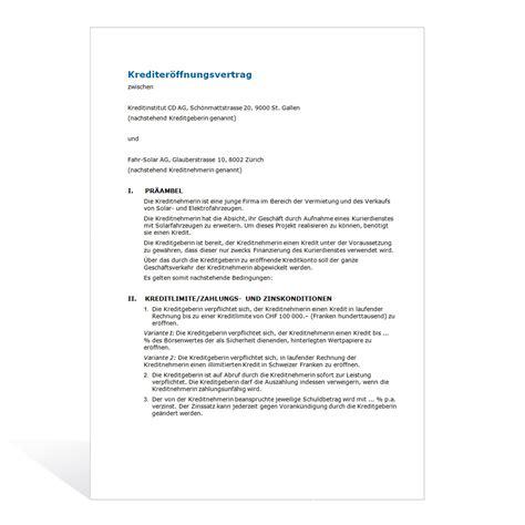 Muster Darlehensvertrag Schweiz Kostenlos Muster Kreditvertrag
