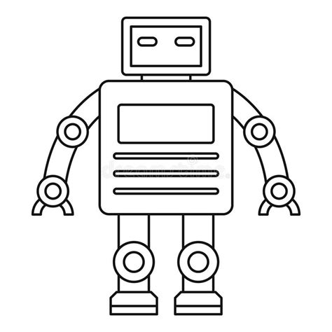 shape robot template robot with a square icon outline style stock vector