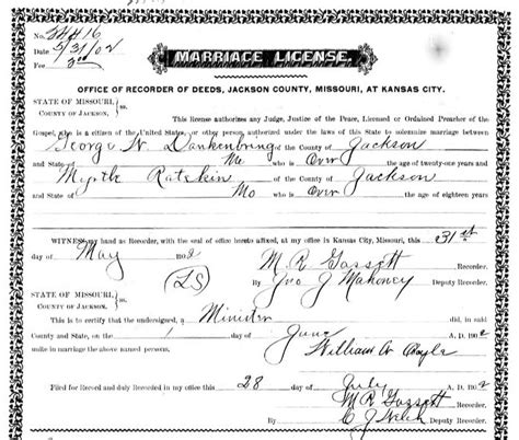 Kansas Marriage Records Alma Widmann And George Dankenbring Genealogy