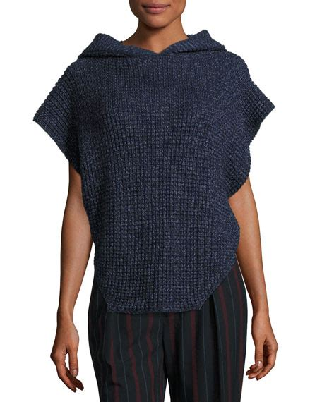 hooded cable knit sweater see by hooded cable knit pullover sweater navy