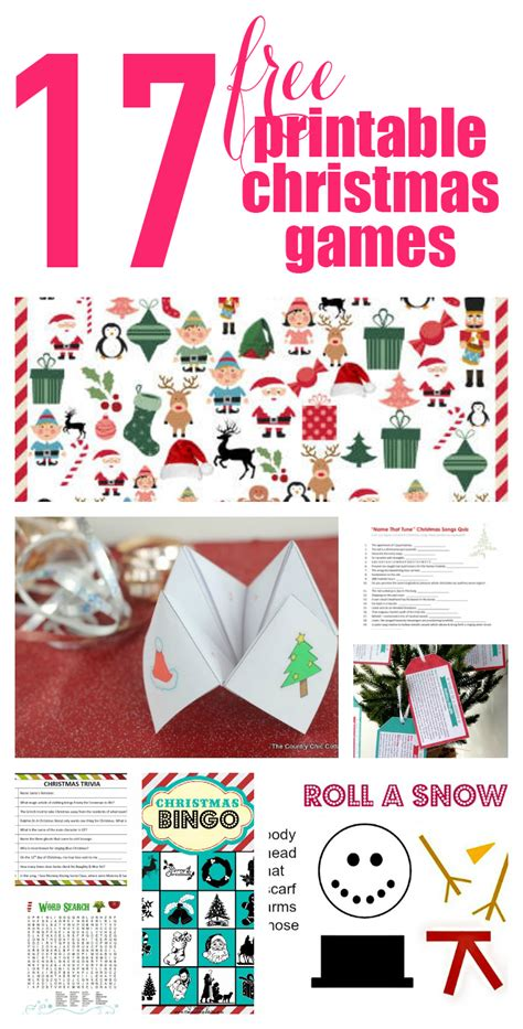 17 free printable christmas games