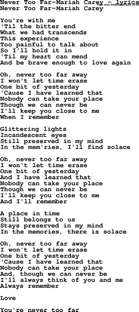 lyrics carey song lyrics for never far carey