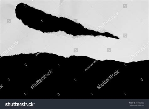 Black And Space Essay by Ripped Black White Paper Copy Space Stock Photo 492953536