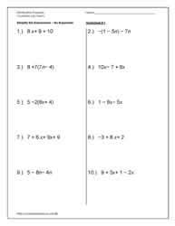 printable math worksheets combining like terms printables combining like terms worksheet