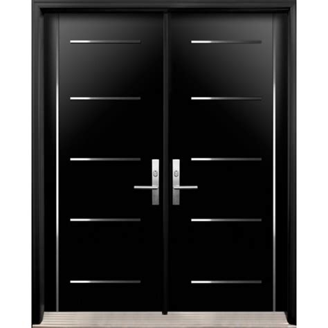 Main Door Designs For Indian Homes by Modern Double Exterior Doors With Stainless Steel Stripes